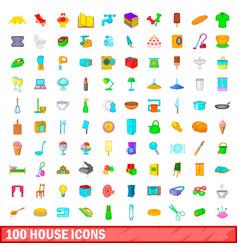 100 house icons set cartoon style vector