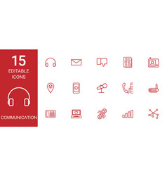 15 communication icons vector image