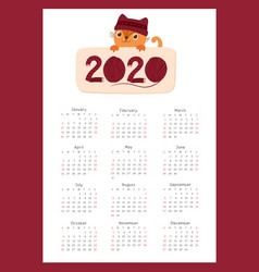 2020 calendar with a cute kitten flat vector