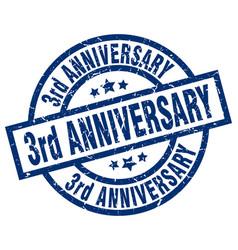 3rd anniversary blue round grunge stamp vector
