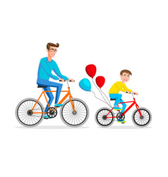 active holidays father and son are riding bikes vector image