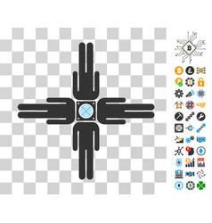 Asic pool community users icon with bonus vector