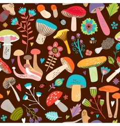 Assorted Leaves and Mushrooms on Brown Background vector image