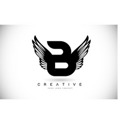 B letter logo with wings creative wing letter vector