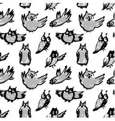 background with sketchy owls ink vector image