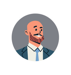 Bald head businessman avatar man face profile icon vector