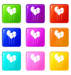 Balloons icons 9 set vector