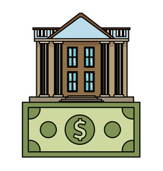 bank building with money symbol vector image