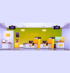 Bank office interior with atm cash box and tables vector