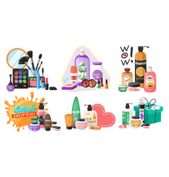 beauty store cosmetics set flat isolated vector image