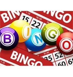 Bingo balls over red bingo cards vector image