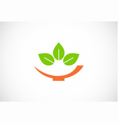 bowl green leaf organic logo vector image