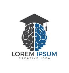 Brain and graduation cap icon design vector