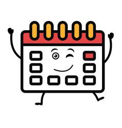 Calendar reminder kawaii character vector