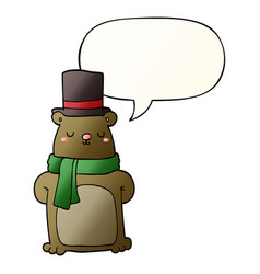 Cartoon bear and speech bubble in smooth gradient vector