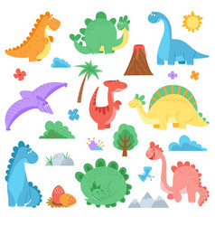 Cartoon dinosaur cute colors dino dinosaurs vector
