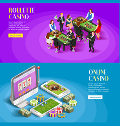 casino isometric banners set vector image vector image