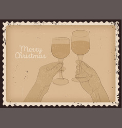 christmas card design with clink glasses vector image