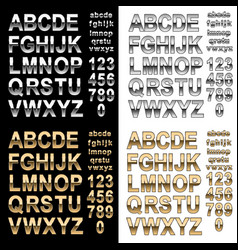 Chrome and gold effect alphabet letters numbers vector
