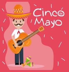 cinco de mayo celebration with man playing guitar vector image