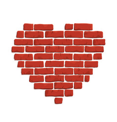 Clip art with red brick heart shape vector