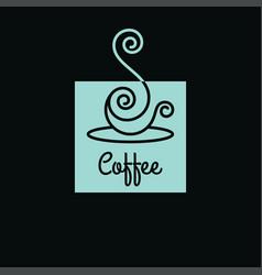 coffee cup logo linear art cup coffee vector image