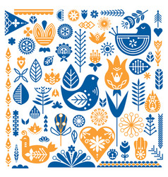 collection of blue and orange ethnic elements the vector image