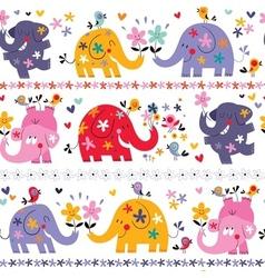 Cute elephants seamless pattern vector