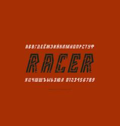 cyrillic italic striped sans serif font vector image