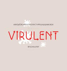 Cyrillic sans serif font with coronavirus vector