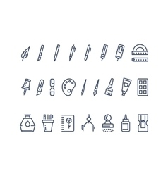 Drawing and writing tools Line icons set vector