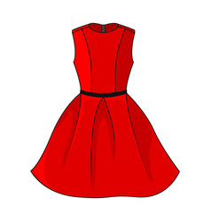 elegant red dress icon beautiful short red dress vector image