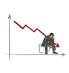 fail businessman grabbing his head with graph vector image