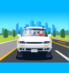 family driving car auto driver father man woman vector image