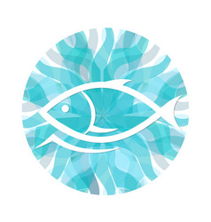 fish on a background of waves vector image