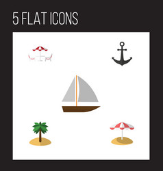 Flat hot set of yacht recliner coconut and other vector