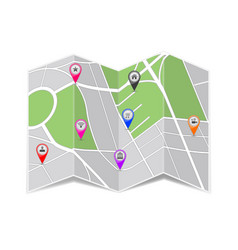 folded paper city map zoom out view with popular vector image