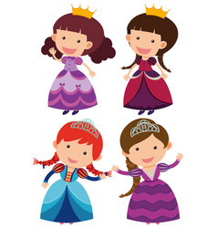 four cute princesses on white background vector image
