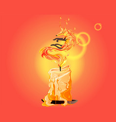 fox on fire reborn like a phoenix out candle vector image