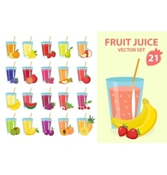 Fruit juice in glass set vector image