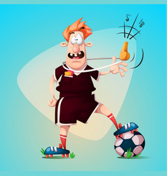 funny cute cartoon football referee vector image
