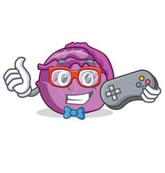 gamer red cabbage mascot cartoon vector image