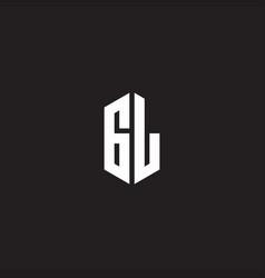 gl logo monogram with hexagon shape style design vector image