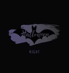 halloween night lettering with a bat vector image