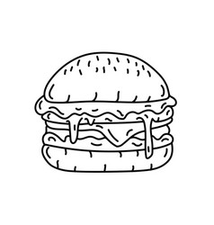 hamburger icon doodle hand drawn or black vector image
