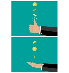 Hand of businessman tossing and catches a coin vector
