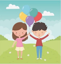 happy children day girl and boy with balloons vector image