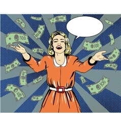 Happy woman throw money in vector image
