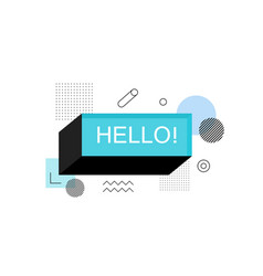 Hello abstract speech bubble box label vector