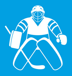 Hockey goalkeeper icon white vector